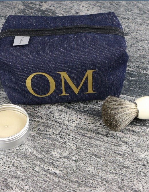 Men's Personalised Wash Bag with Gold Print
