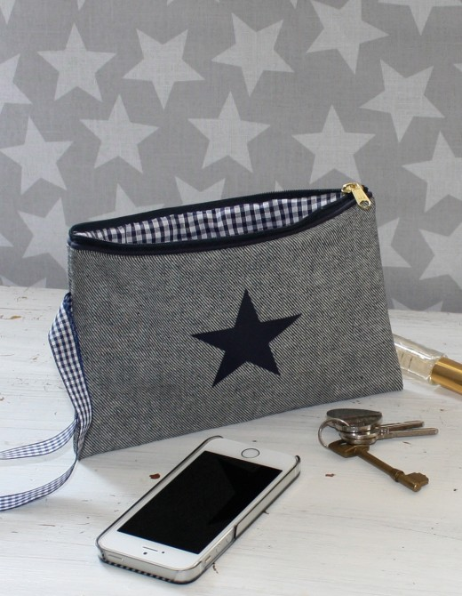 Reverse Denim Clutch Bag Personalised