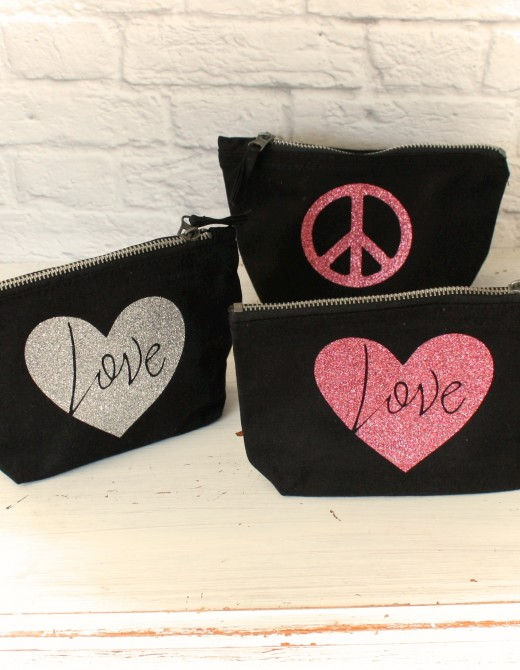 Love & Peace Glitter Print Cotton Pouches