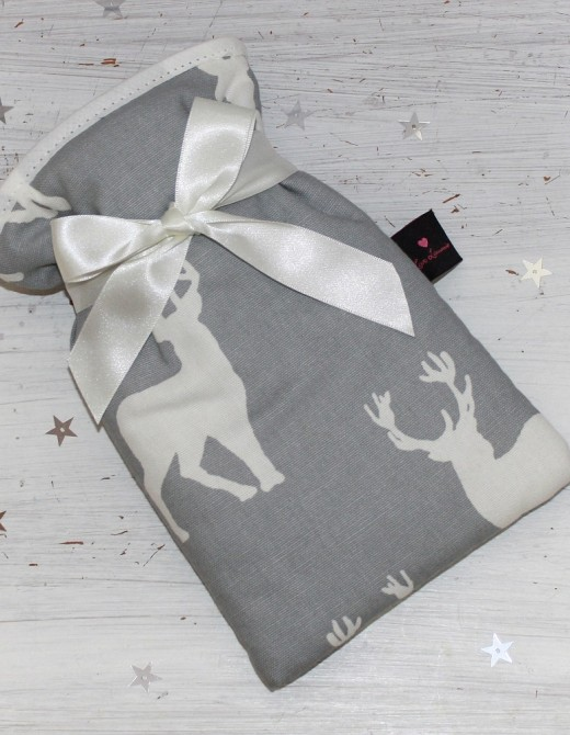 Mini Hot Water Bottle Stag Print