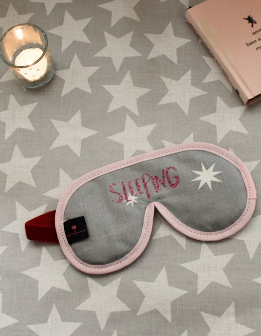 Luxury Sleep Mask with Lavender 'Sleeping' Print