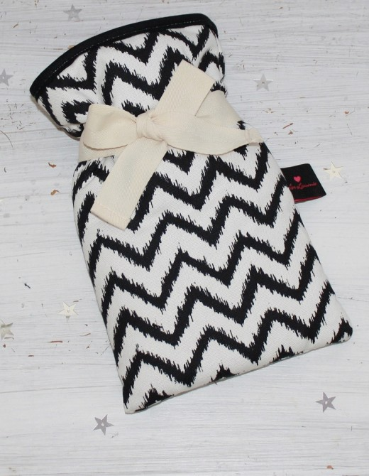Mini Hot Water Bottle Zig Zag Print