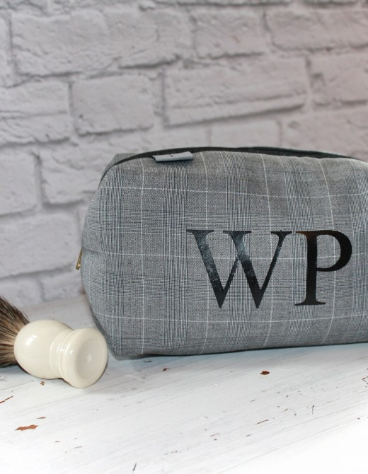 Monogram Men's Grey Check Wash Bag