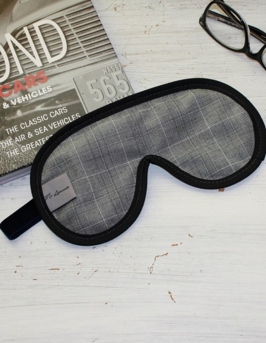 Men's Luxury Sleep Mask Grey Check