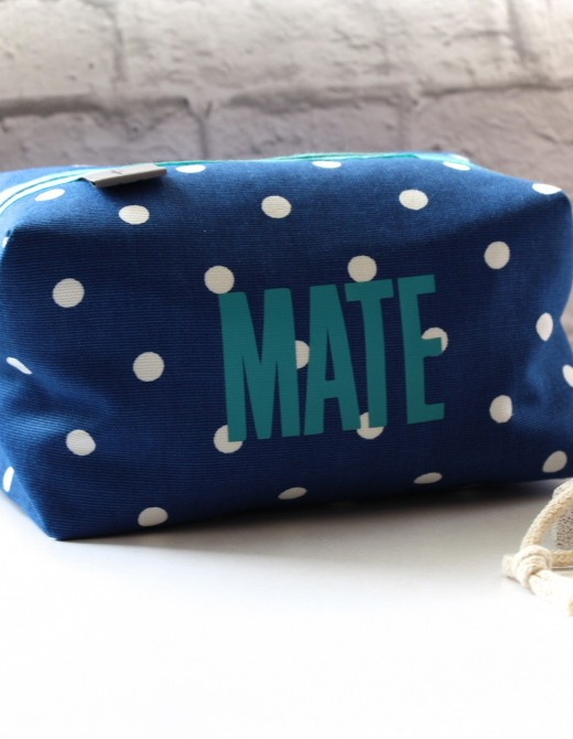 Navy Spot Wash Bag Mate
