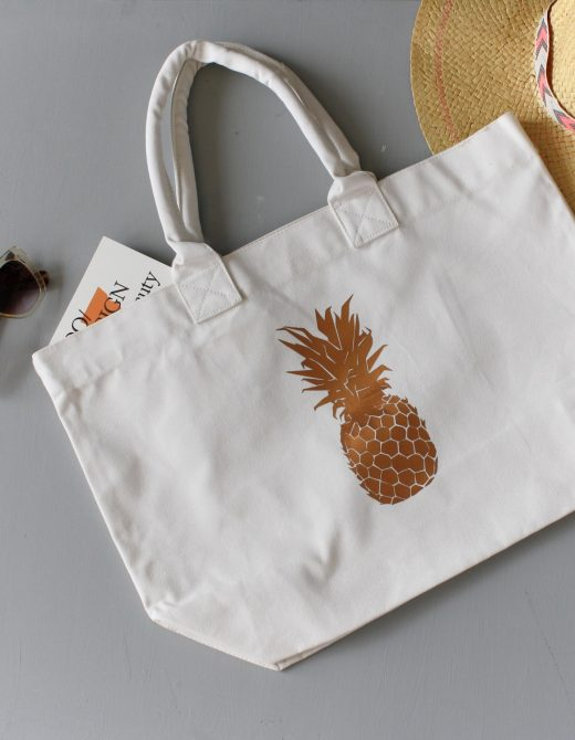 Pineapple Foil Print Tote Bag