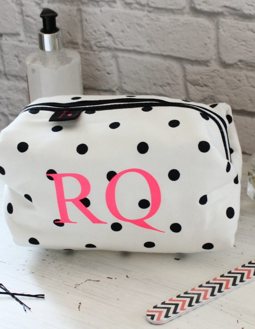 Personalised Cream & Black Spot Personalised Wash Bag