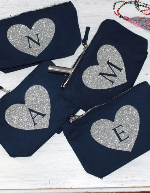 Personalised Navy Pouch with Silver Glitter Initial f759ba5c8bc96