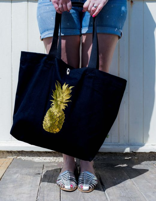 Pineapple-foil-print-canvas-beach-bag