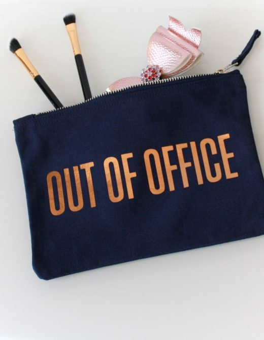 Clutch-Pouch-Navy-Canvas-Out-Of-Office-Foil-Print