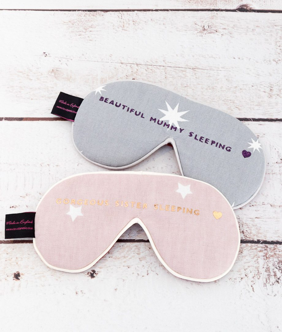 Personalised Sleep Mask with heart print