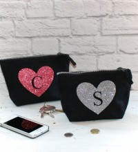 Personalised Glitter Heart Print Pouch
