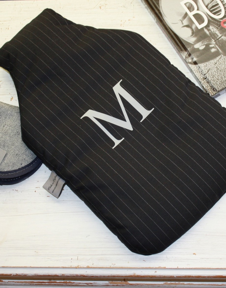 Personalised Men's Hot Water Bottle Pinstripe