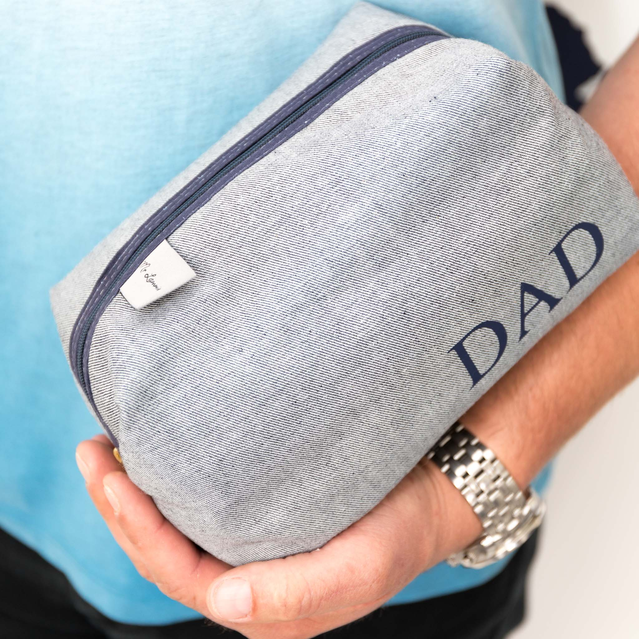 Men's Personalised Reverse Blue Denim Boxy Wash Bag