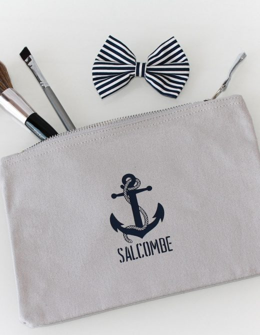 Clutch-Pouch-Grey-Canvas-Salcombe-Anchor-Print