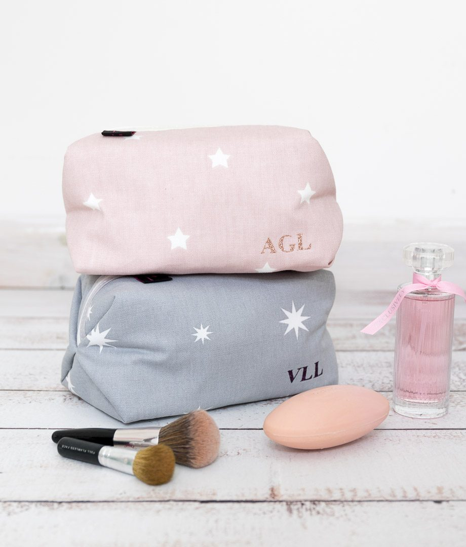Personalised Star Print Boxy Wash Bag