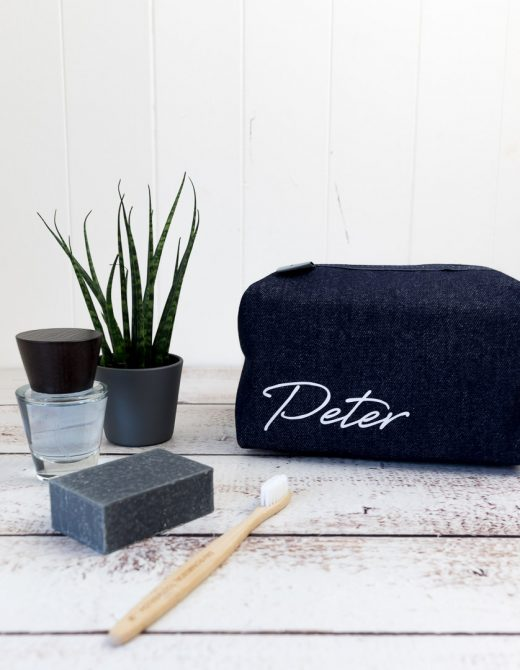 Men'spersonalisedsignatureprintdenimwashbag