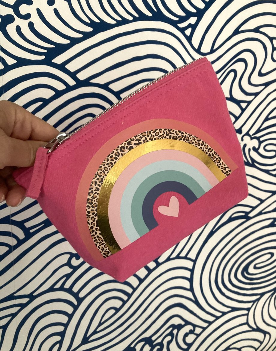 Rainbow Heart Print Pouch Pink