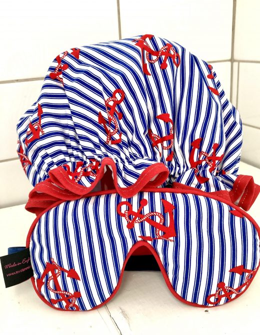 Shower-Cap-Navy-Stripe-Anchor-Print-Eye-Mask-Set