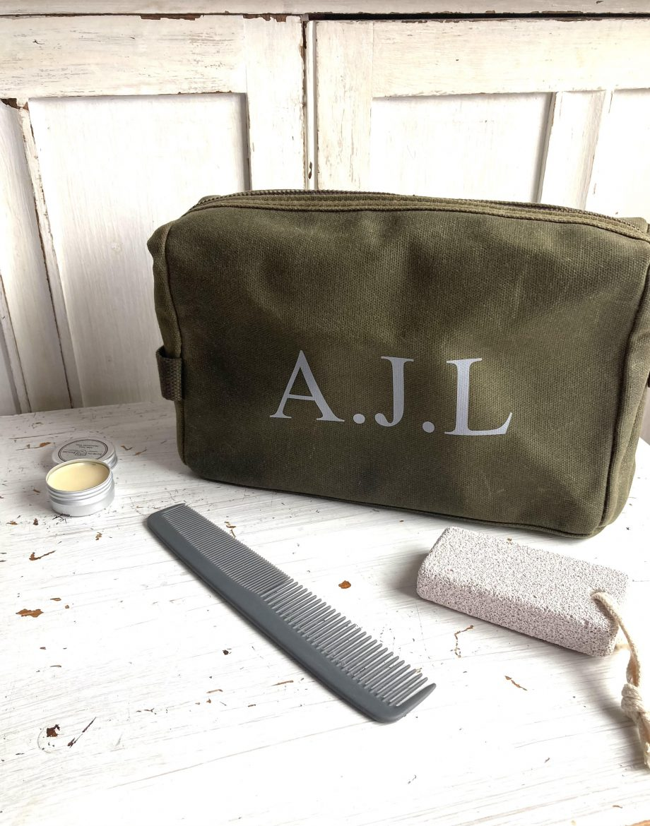 Personalised-men's-Waxed-Cotton-Wash-Bag